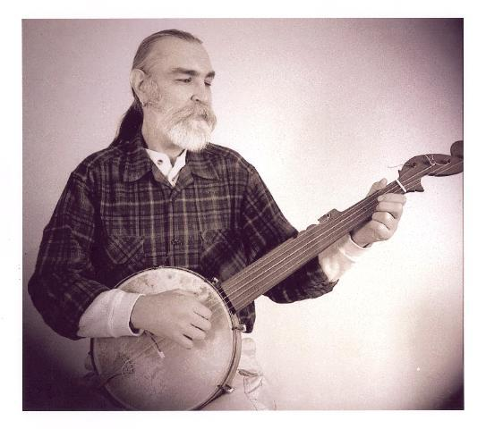 Playing a Minstrel banjo made by George Wunderlich for the CD, Spring 2003<br><br>  photo by Joe LaRose